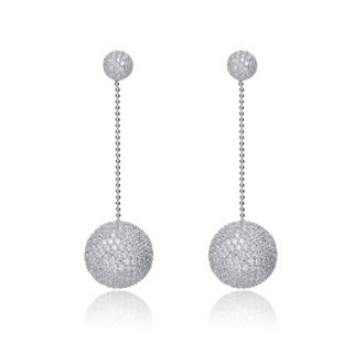 Collette Z Sterling Silver White Cubic Zirconia Disco Ball Dangle Earrings