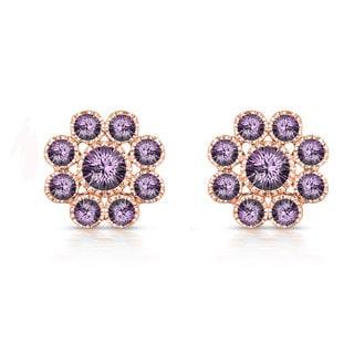 Collette Z Rose Goldplated Sterling Silver Purple Cubic Zirconia Flower Stud Style Earrings