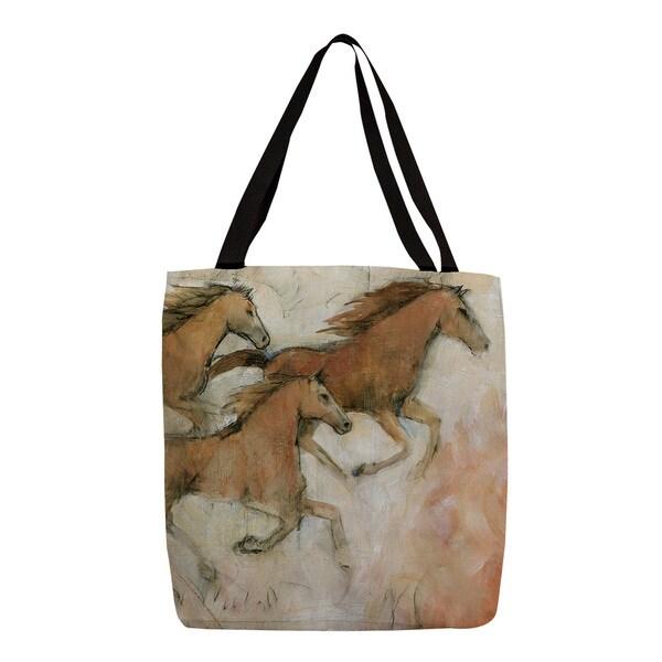 Horse Fresco II' Earth Tone Printed Tote