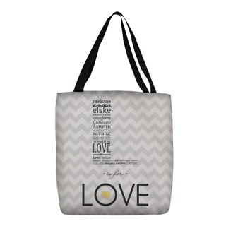 L is for Love' Grey Printed Tote