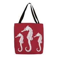 Nautical Nonsense' White and Red Seahorse Tote