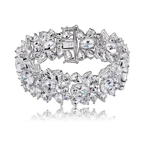 Collette Z Sterling Silver Cubic Zirconia Elegant Cuff Bracelet