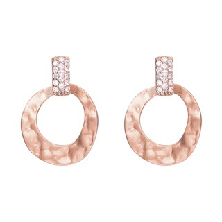 Collette Z Matte Hammered Rose Goldplated Sterling Silver Cubic Zirconia Round Drop Earrings
