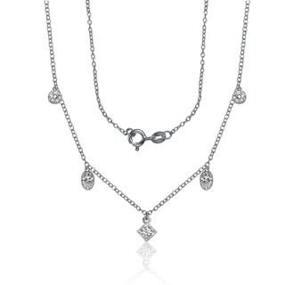 Collette Z Sterling Silver Multi Shape Cubic Zirconia Necklace