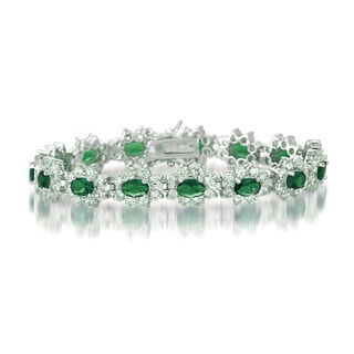 Collette Z Sterling Silver Green and White Cubic Zirconia Flower Bracelet