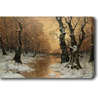 Ivan Fedorovich Choultse 'Woodland River' Oil on Canvas Art