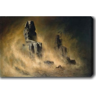 Karl Wilhelm Diefenbach 'The Colossi of Memnon in a Sandstorm' Oil on Canvas Art