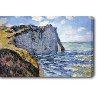 Claude Monet 'The Cliff of Aval Etretat' Oil on Canvas Art - Multi
