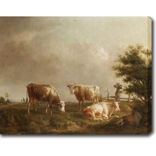 Circle of ROY Jean Baptiste de 'Cows Grazing' Oil on Canvas Art - Multi