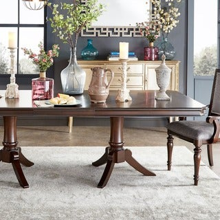 TRIBECCA HOME LaSalle Espresso Pedestal Extending Dining Table