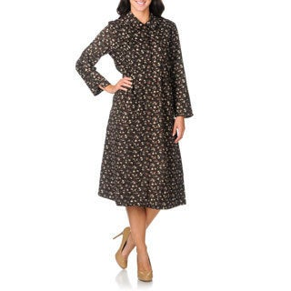 La Cera Women's Brown Floral Print Corduroy Dress