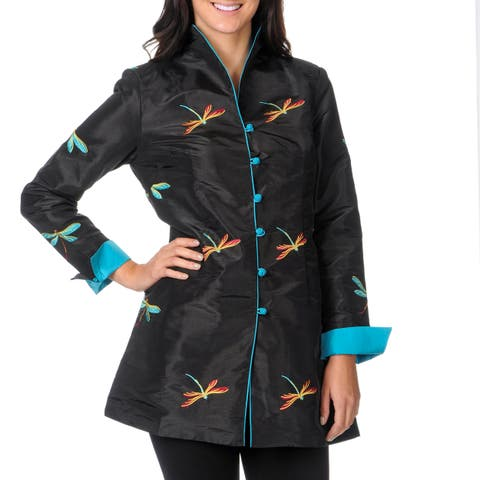 La Cera Women's Black/ Blue Long Sleeve Dragonfly Jacket