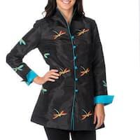 La Cera Women's Black/ Blue Long Sleeve Dragonfly Jacket