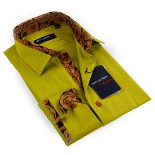 Max Lauren Men's Paisley Olive Green Button-down Dress Shirt