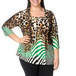 La Cera Women's Plus Size Brown/ Green Animal Print Square Neck Tunic