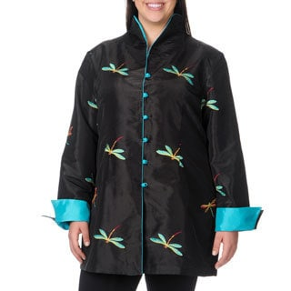 La Cera Women's Plus Size Long Sleeve Black/ Blue Dragonfly Jacket