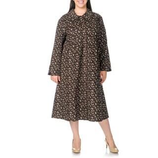 La Cera Women's Plus Size Brown Floral Print Corduroy Dress