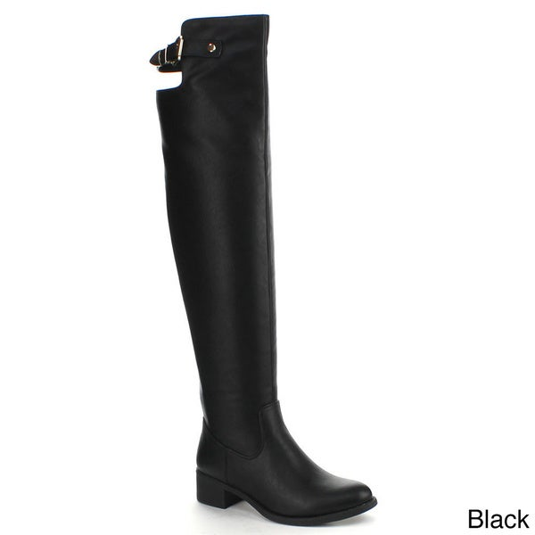 Refresh Women's 'Alto-04' Over-the-knee Buckle Accent Riding Boots