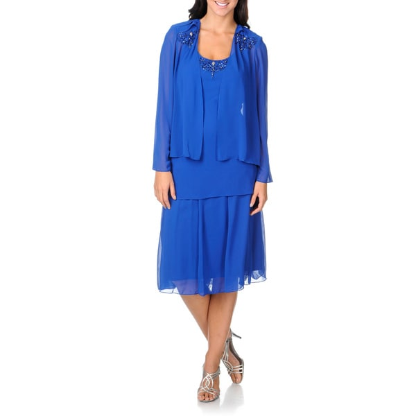 ... Fashions Women's Tiered Royal Blue 2-piece Cocktail Cardigan Dress