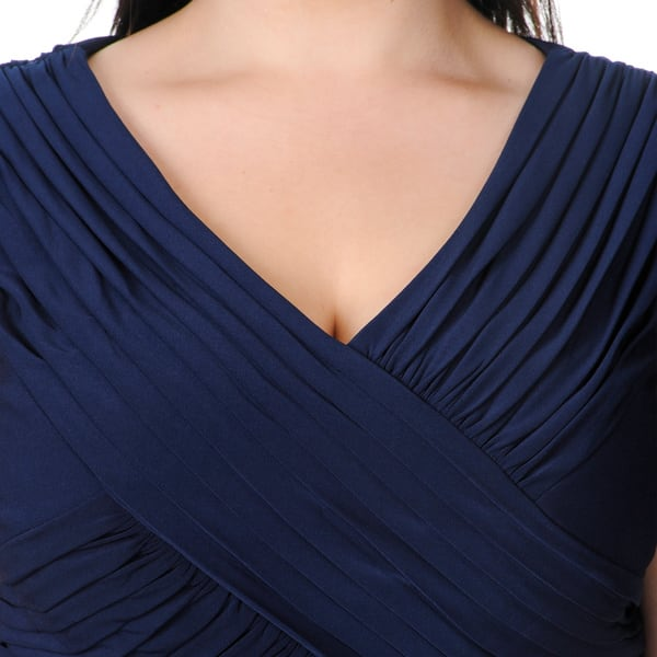 Shop Patra Women\'s Plus Size Navy Beaded Tiered Evening ...