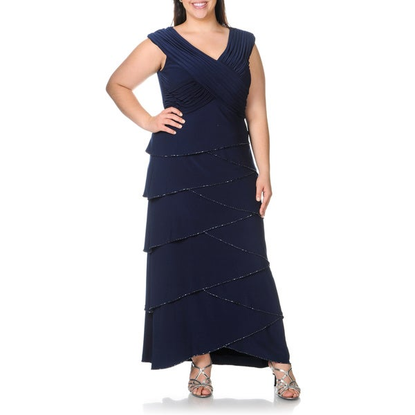 Shop Patra Womens Plus Size Navy Beaded Tiered Evening Dress Free