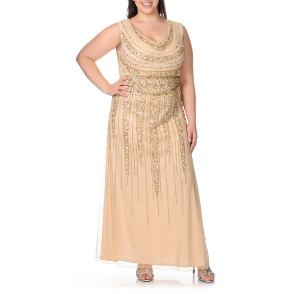 Patra Women&39s Plus Size Cowl Neck Sequin Embellished Evening Dress ...