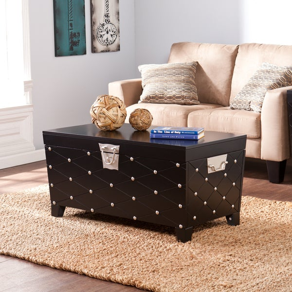 Harper blvd baylen black and satin silver coffee cocktail for Overstock trunk coffee table