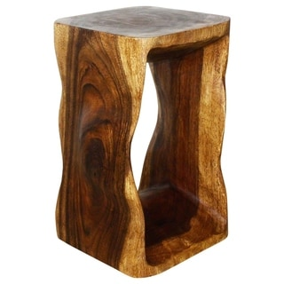 Hand-carved 12 x 20 Natural Walnut Oiled 'Monkey Pod' Wood End Table (Thailand)