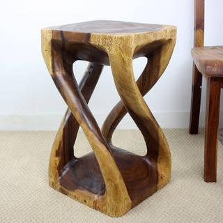 """Haussmann® Wood Vine Twist Stool Accent Table 14 in x 23 in H Walnut Oil - 14"""" x 14"""" x 23"""""""