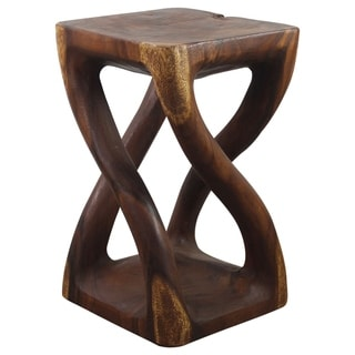 12 Inches Square X 26 Inch Monkey Pod Wood Twist Walnut