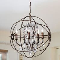 Warehouse of Tiffany Planetshaker 22 Inch 5-Light Crystal Orb Chanderlier