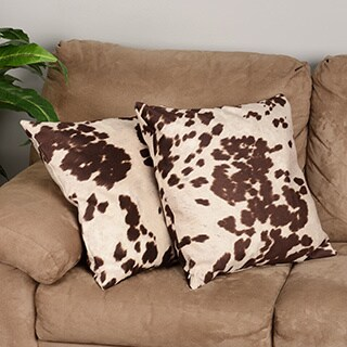Samps Faux Cowhide Feather-filled Throw Pillow (Set of 2)