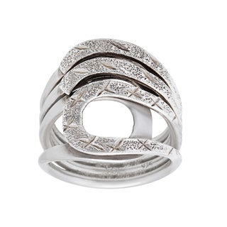 Kele & Co's Swirl and Diamond Cut Ring made in .925 Sterling Silver