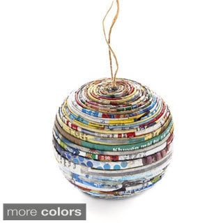 Handcrafted Recycled Magazine Paper Ball Ornaments- Set of 2 (Vietnam)
