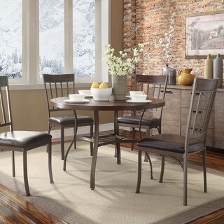 Keyaki Rustic Antique Bronze Oak Round Dining Table by iNSPIRE Q Classic