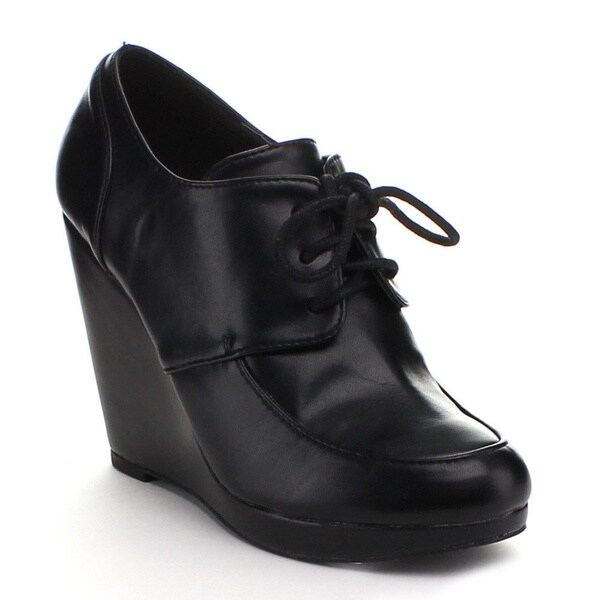 b7b184ef64c5 Shop Styluxe Women s  Juan-01  Lace-up Oxford Wedge Booties - Free ...