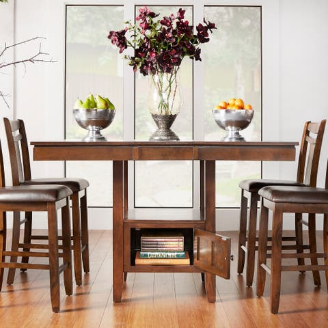 Marsden Brown Mission Extending Counter Height Dining Table By Inspire Q Clic