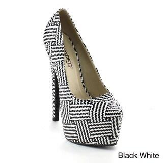 Bumper Women's 'Elle138' Black/ White Hidden Platform Stiletto Pumps
