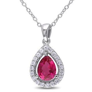 Miadora Silver Created Ruby and Created White Sapphire Teardrop Halo Necklace