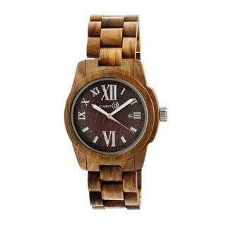 Earth Men's Heartwood 47mm Case Brown Olive Wood Analog Watch
