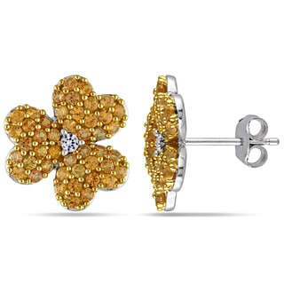 Miadora Two-Tone Silver Created White and Yellow Sapphire Flower Earrings