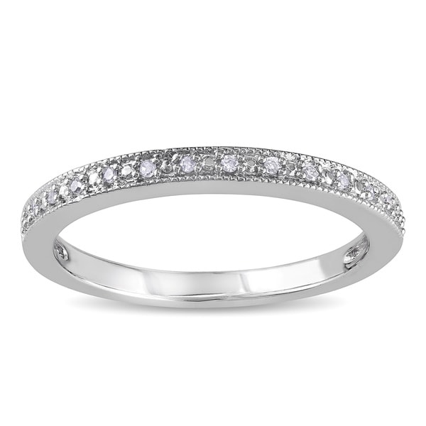 Miadora 10k White Gold Diamond Accent Stackable Wedding Band Ring
