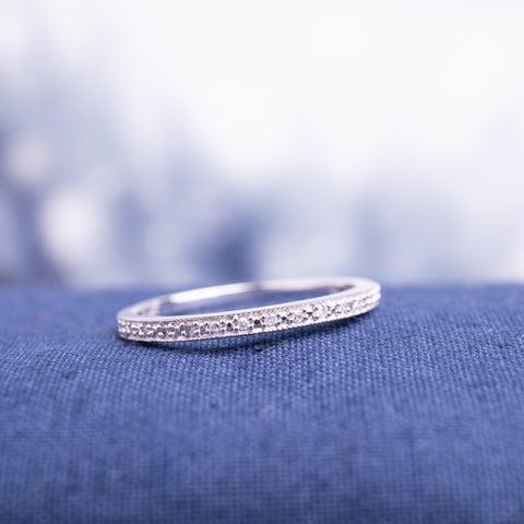 Miadora 10k White Gold Diamond Accent Stackable Wedding Band Ring