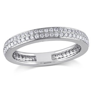 Miadora Signature Collection 14k White Gold 1/2ct TDW Diamond Eternity Ring (G-H, SI1-SI2)