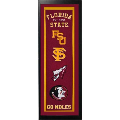 Florida State Logo History Felt Banner - 14 x 37 Framed