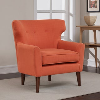 Rust Orange Mid-century Wing Chair