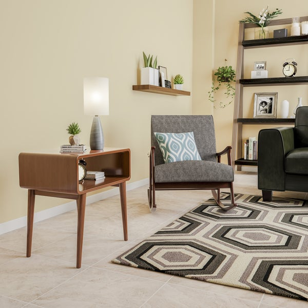 Carson Carrington Namsos Mid-century Granite Grey Fabric Wooden Rocking Chair