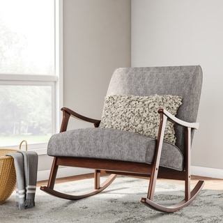 Charming Granite Grey Fabric Mid Century Wooden Rocking Chair