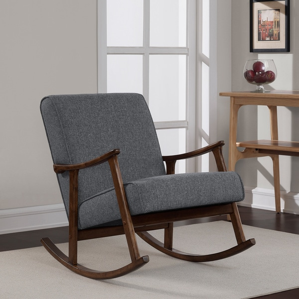 Granite grey fabric mid century wooden rocking chair - Fabric rocking chairs living room ...