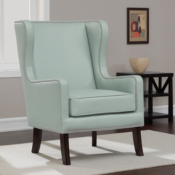 Oversized Aqua Bonded Leather Wing Chair Free Shipping Today